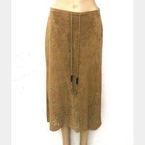 Vintage Skirts - Rene Derhy M, Genuine Suede Midi Skirt